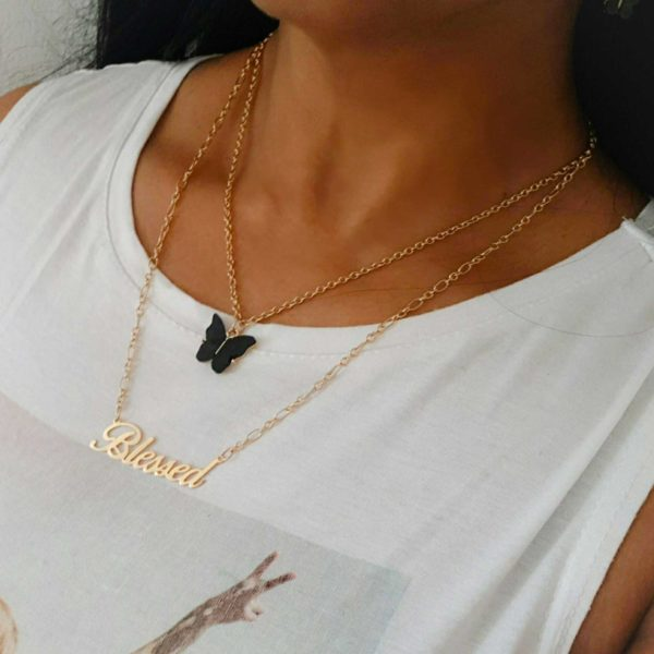 Blessed Black Butterfly Layered Necklace