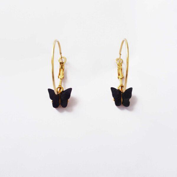 Black Butterfly Gold Hoop Earring