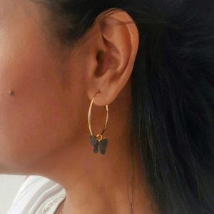Black Butterfly Gold Hoop Earring