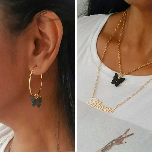Blessed Butterfly Necklace And Butterfly Hoop Earring Set