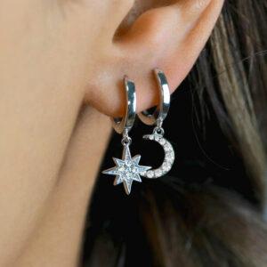Silver Celestial Star Moon Huggie Hoop Earring