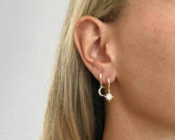 Gold Celestial Star Moon Huggie Hoop Earring