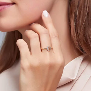 Adjustable Moon Celestial Costume Ring in Gold