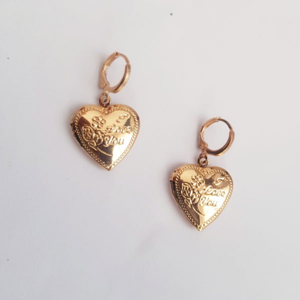 Gold Heart Locket Ear Huggie Earring With Picture