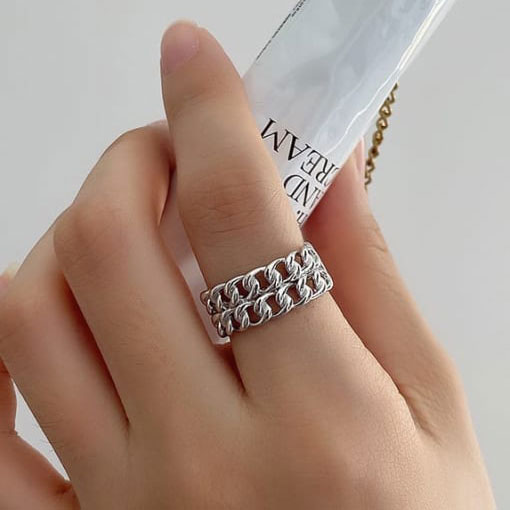 Adjustable Double Row Cuban Chain Link Ring