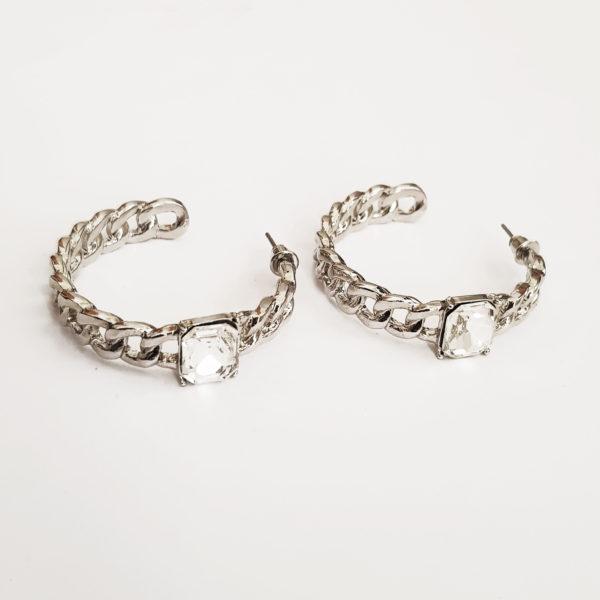 Cuban Chain Hoop Earrings With Clear Stone