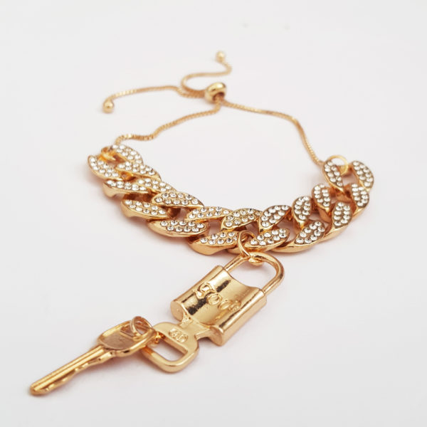 Padlock Cuban Chain Bracelet With Cubic Zirconia