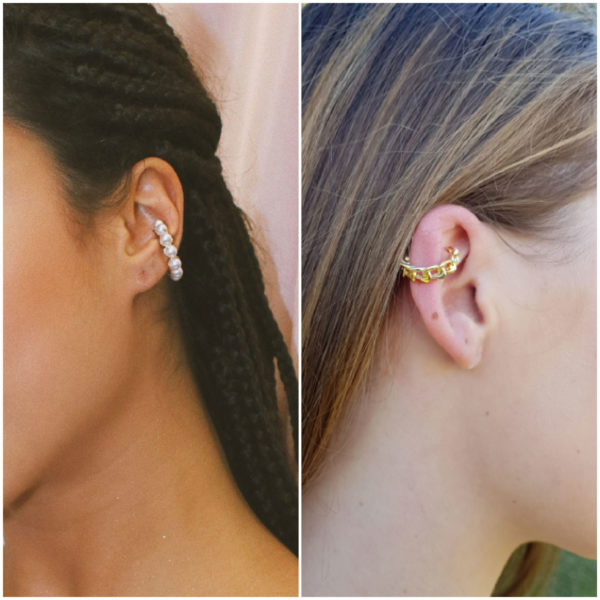 Pearl And Cuban Ear Cuff Combo in Gold or Silver