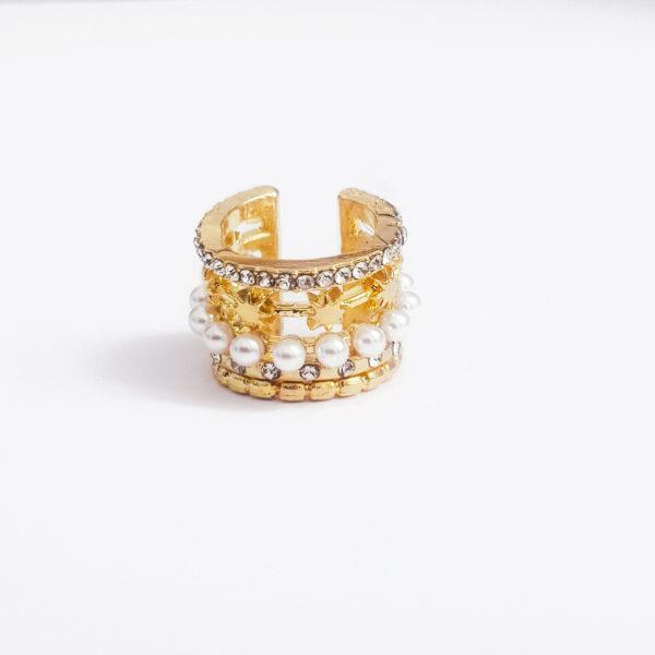 Gold Pearl Ear Cuff Earring