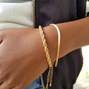 Gold Rope Bracelet Chain Combo Set
