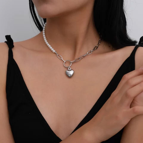 Paperclip Link Chain And Artificial Pearls With Heart Pendant In Gold Or Silver