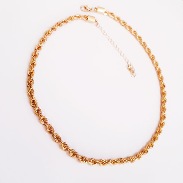 Unisex Rope Necklace in Gold Or Silver