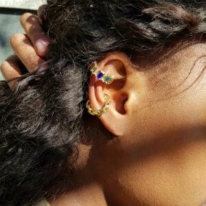 Cuban Ear Cuff and Rainbow Ear Cuff Set